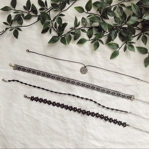 Bundle of 4 Women's Black Chokers